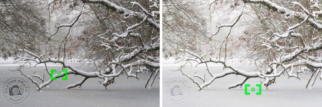 Comment photographier la neige en mode automatique, en jouant avec les collimateurs du viseur