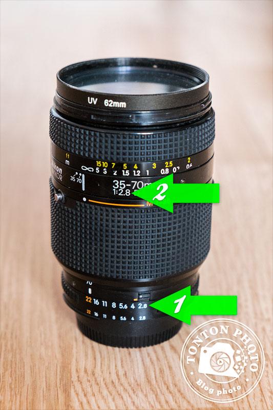 [1] Gamme des ouvertures de votre objectif [2] Ouverture la plus grande (=chiffre le plus petit) © Tonton Photo