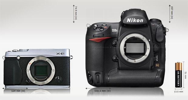 Comparaison de taille entre le Fuji X-E1 et le Nikon D3s