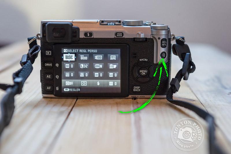 """Fujifilm X-E1 : la touche """"Q"""" d'accès rapide au menu"""
