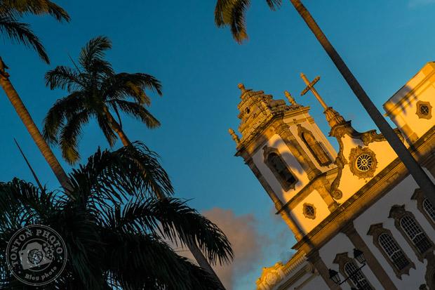 Coucher de soleil sur la cathédrale du terreiro do Jesus, Pelourinho, Salvador de Bahia, Brésil © Clément Racineux / Tonton Photo