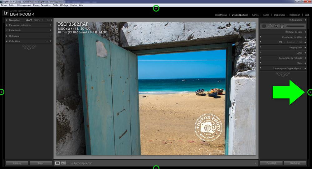 Lightroom : comment cacher ou afficher les colonnes de réglages © Tonton Photo