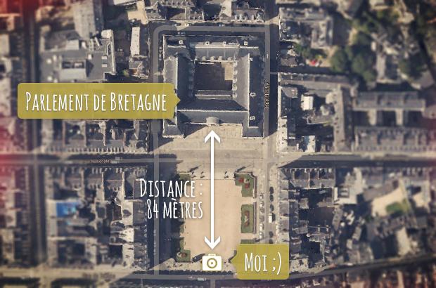 Objectifs photo : comparatif visuel des focales - Distance de prise-de-vue avec le Parlement de Bretagne, à Rennes, Bretagne (France) © Tonton Photo