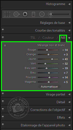 Lightroom : module de conversion en noir-et-blanc © Tonton Photo