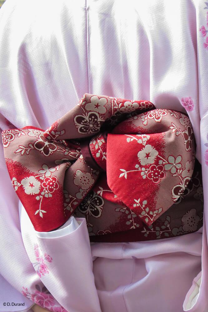 Détails de la tenue d'une Geisha vue de dos. Quartier de Gion, Kyoto, Japon © D. Durand