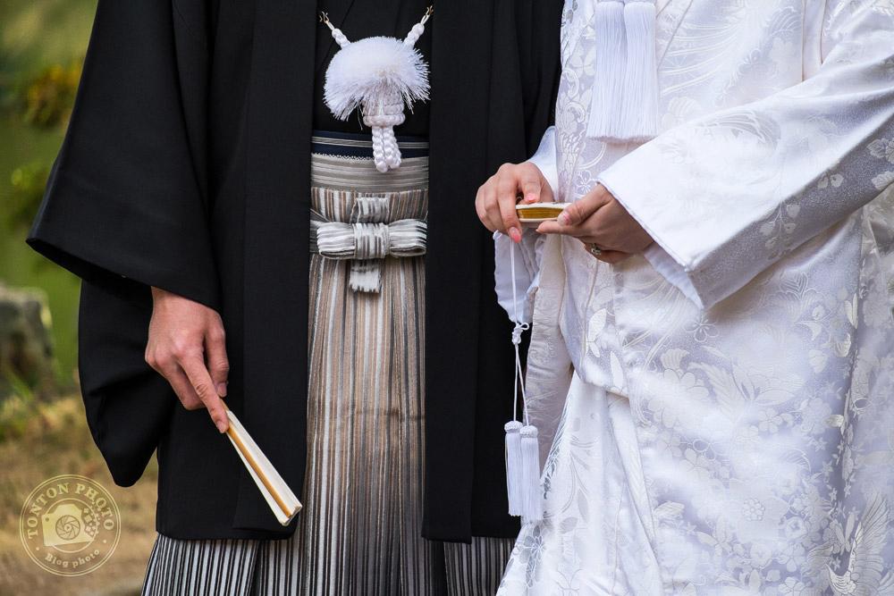 Détail des vêtements traditionnels des mariés. Jardins de Genkuyen, Hikone, Japon © Clément Racineux / Tonton Photo