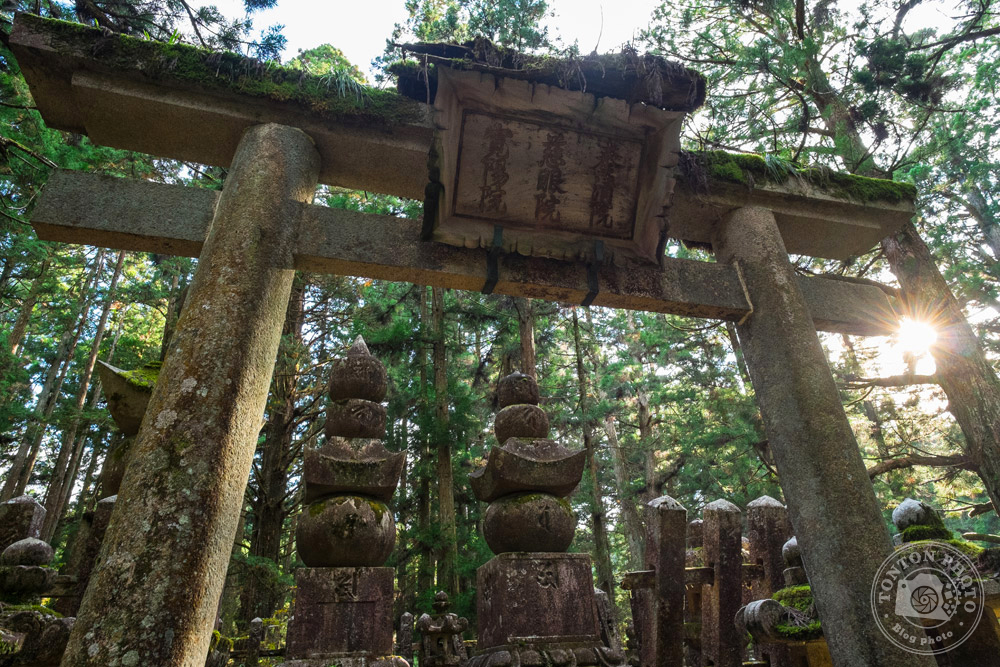 Porte d'un mémorial familial dans le sanctuaire d'Okuno-in, Koyasan, Japon © Clément Racineux / Tonton Photo