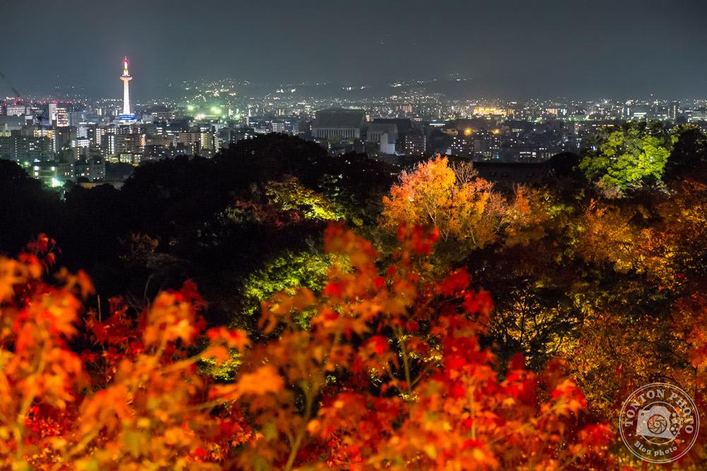 Vue de nuit sur Kyoto depuis le Temple Kiomizu illuminé © Clément Racineux / Tonton Photo