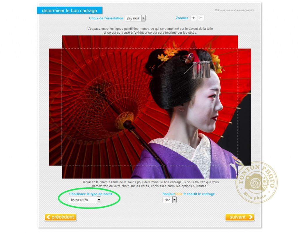 """J'ai testé pour vous l'impression de photo sur toile, sur le site bonjourtoile.fr : option de cadrage """"bords étirés"""" © Tonton Photo"""