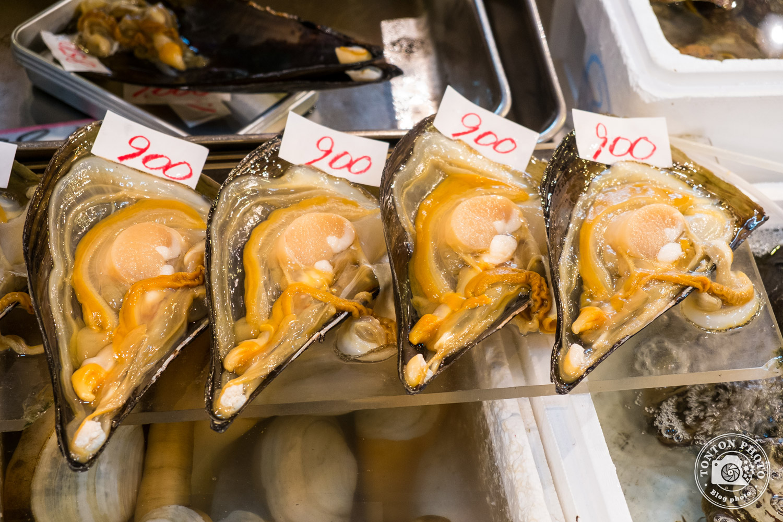Moules géantes sur le marché aux poissons et fruits de mer de Tsukiji, Tokyo, Japon © Clément Racineux / Tonton Photo