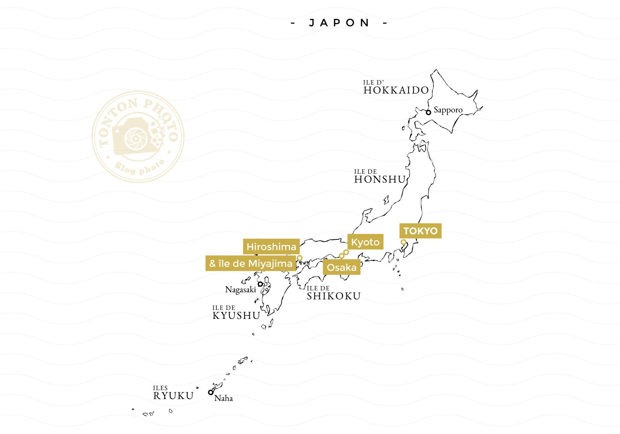 Carte des étapes du second voyage-photo au Japon : Osaka, Kyoto, Miyajima, Hiroshima et Tokyo © Tonton Photo