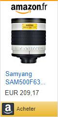 Acheter Samyang SAM500F63 Objectif 500 mm mirror F6,3 monture T2 Blanc sur Amazon