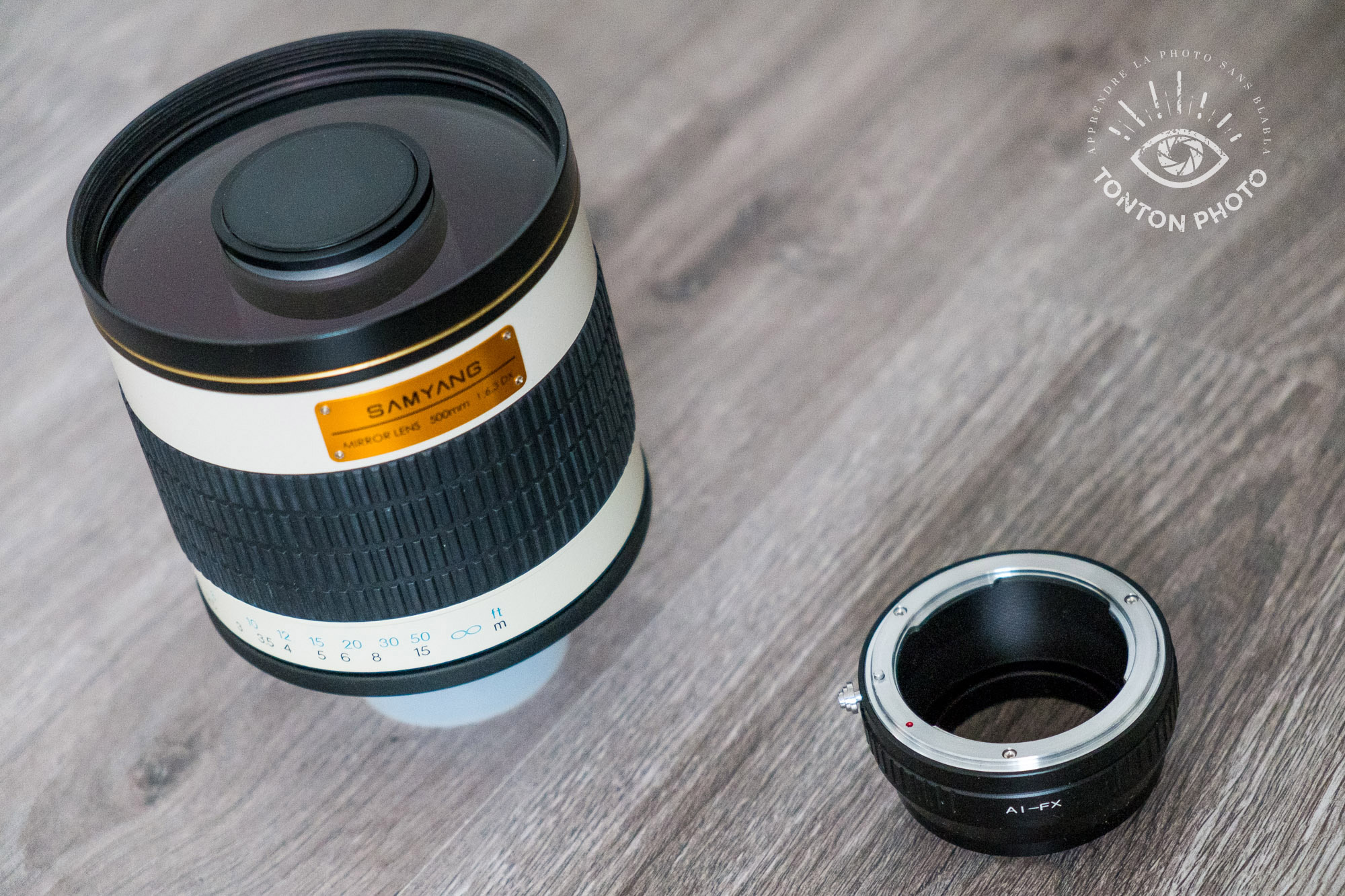 Bague d'adaptation Fuji-Nikon pour utiliser le télé-objectif Samyang 500mm f/6.3 MC IF pour Nikon sur un Fuji X-E1 © Tonton Photo